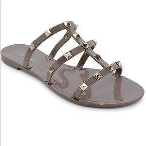 Shoes - NEW Dark Beige Sandals with Gold Studs!